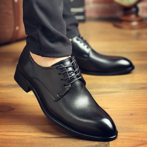 High Quality Genuine Leather Men Dress Shoes Comfortable Casual Formal Business Wedding Dress Shoes