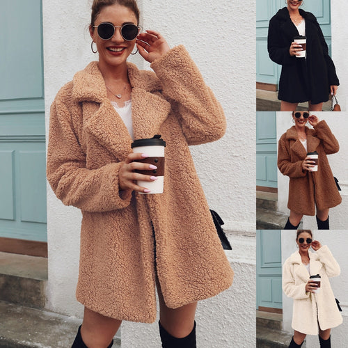 High Quality Faux Fur Coat Fleece Sweatshirts Cardigan Female Fall Winter Coat Women Overcoat Plush Jacket