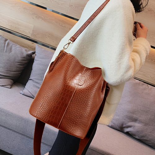 Retro Crocodile Crossbody Bag For Women Shoulder Bag Brand Designer Style Women Bags Luxury PU Leather Bag Bucket Bag