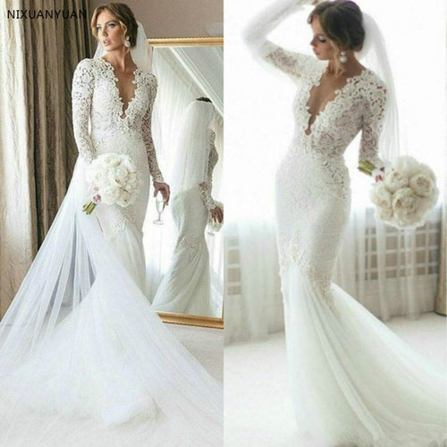 Full Lace Mermaid Wedding Dress Sweep Train Long Sleeve Bridal Gown Summer Beach Custom Made