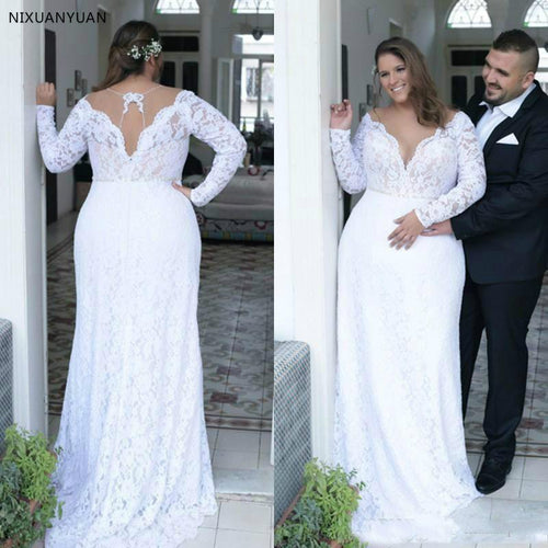 Plus Size Wedding Dresses Deep V Neck Vintage Long Sleeves Formal Wedding Bridal Gowns