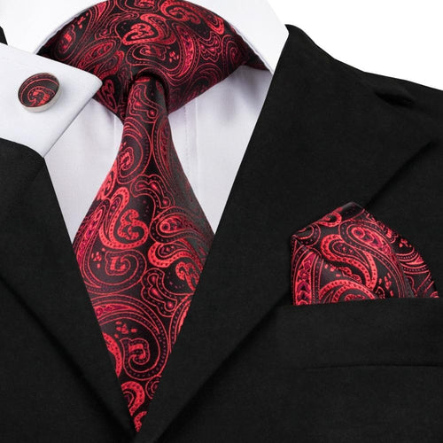 Fashion red&black Paisley Tie Hanky Cufflinks Silk Necktie Ties For Men Formal Business Wedding Party C-314