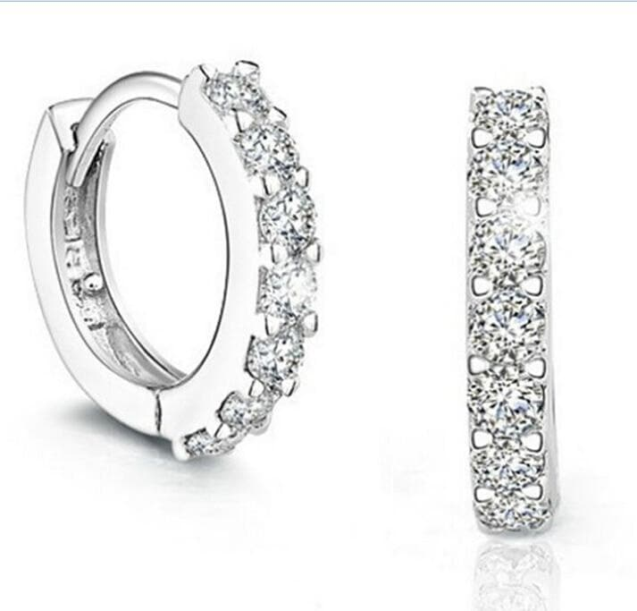 Luxury Jewelry Hot Sale Wholesale 925 Sterling silver AAA Cubic Zirconia Simulated stones Hoop Women Earring For Love Gift