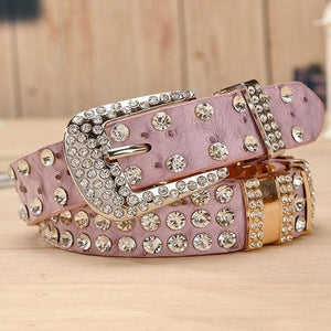 New Fashion Rhinestone belts for women Luxury Designer Genuine leather belt High quality Cow second layer skin strap female