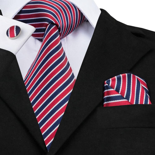 Mens Tie Red  Navy Stripes  New Silk Fabric Ties for Men Necktie Hanky Cufflink Set Fashion Business C-512