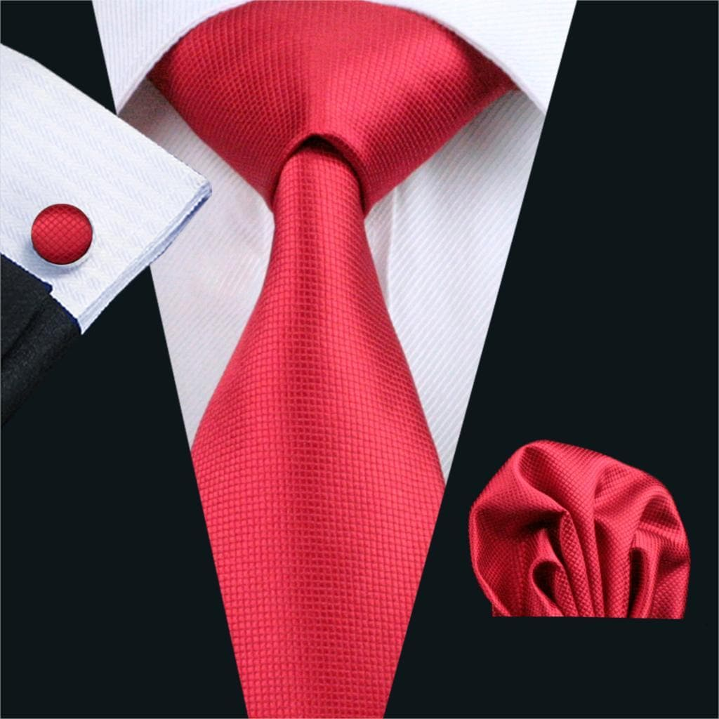 Men's Necktie Solid Red Tie Sets Ties for mens Wedding Party Business FA-206