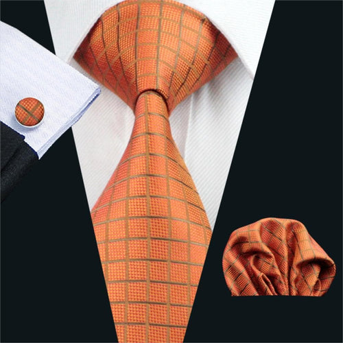 FA-464 Mens Tie Orange Plaid Silk Jacquard Classic Tie Hanky Cufflinks Set Ties For Men Business Wedding Party Free Shipping