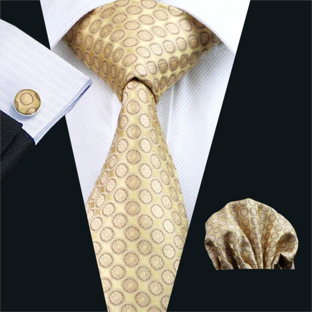 FA-486 Mens Tie Yellow Dot Silk Jacquard Classic Tie Hanky Cufflinks Set Ties For Men Business Wedding Party Free Shipping