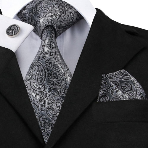 Fashion Gray and Black Paisley Neckties Hanky Cufflinks 100%Silk Tie For Men gravata Formal Business Wedding Party C-209
