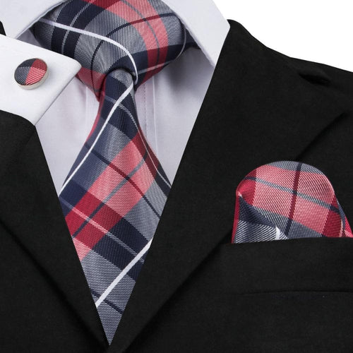 New Classic Plaid College Style Silk Tie For College Ceremony PartyTie Hanky Cufflinks Set C-342