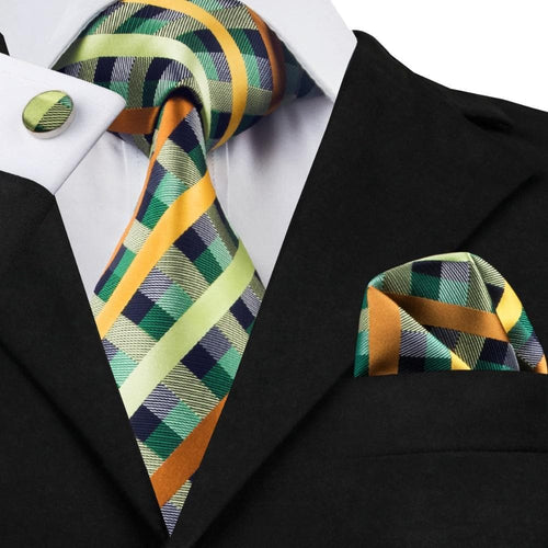 C-218 Fashion Plaid Tie Mix Color Casual Tie Hanky Cufflinks Set Quality Accessories Tie for Men Hot Selling Gravata