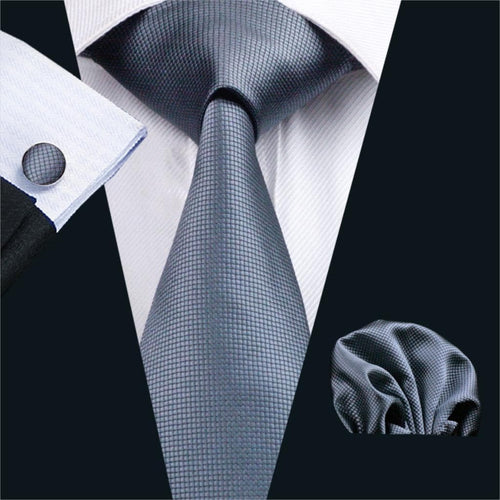 FA-386 Gents Necktie Gray Solid 100% Silk Jacquard Tie Hanky Cufflinks Set Business Wedding Party Ties For Men Free Shipping
