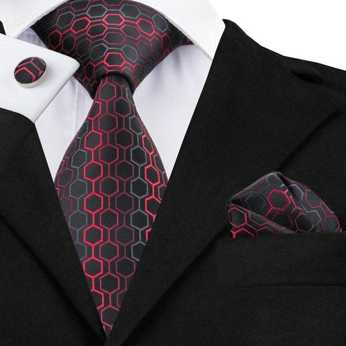 SN-584 Black Dimgray Red Geometric Tie Hanky Cufflinks Sets Men's 100% Silk Ties for men Formal Wedding Party Groom