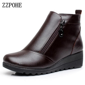 Genuine Leather Wedges Ankle Boots