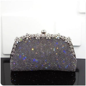 Women Evening Bag Luxury Black/Silver Wedding Party shoulder Bag Diamond Rhinestone Clutches Purse Crystal Bling Gold Clutch Bag