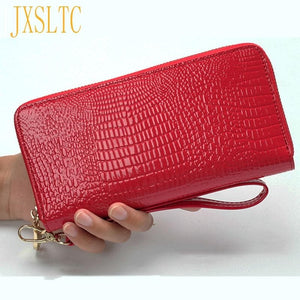 High Quality Women's Purse Red PU Leather Wallet  Female Long Design Clutch Lusury Handbags Women Bags Designer Female Purses