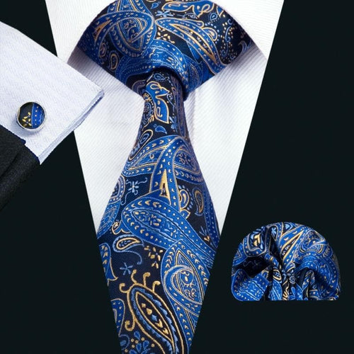 FA-1447  Best Fashion New Mens Tie Blue Paisley Silk Jacquard Necktie Hanky Cufflinks Set For Business Wedding Party