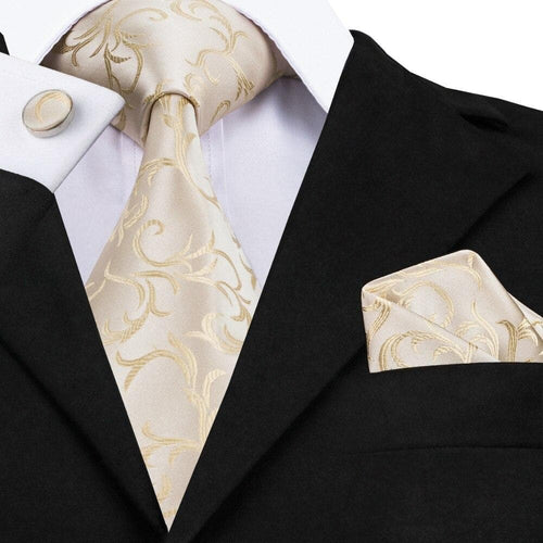Men Ties Ivories Milky Yellow Silk Tie Hanky Cufflink Set The Fashion Mens Business Wedding Party Ties For Men Gravatas C-1117