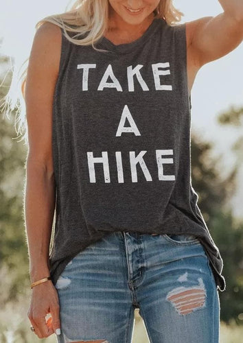 Tank Tops Women Summer Take A Hike Letter Print O-Neck Tank Female Sleeveless Casual t shirt Dark Grey Ladies Tops Tee