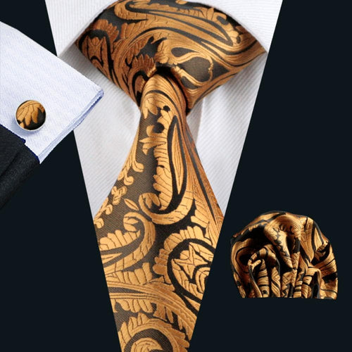 LS-988  New Arrive Mens Tie Yellow Paisley 100% Silk Jacquard Woven NeckTie Hanky Cufflink Set For Men Formal Wedding Party