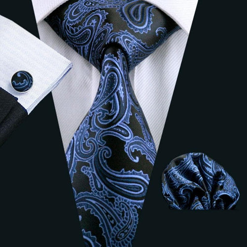 LS-981 Hot Selling Men Tie Blue Paisley 100% Silk Gravata Jacquard Woven NeckTie Hanky Cufflink Set For Men Formal Wedding Party