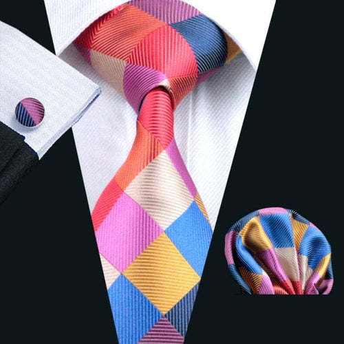 Hot Wedding Tie Hanky Cufflinks Set Multi-Color Plaid Pattern Handmade Silk Ties for Mens Business Party Necktie LS-216