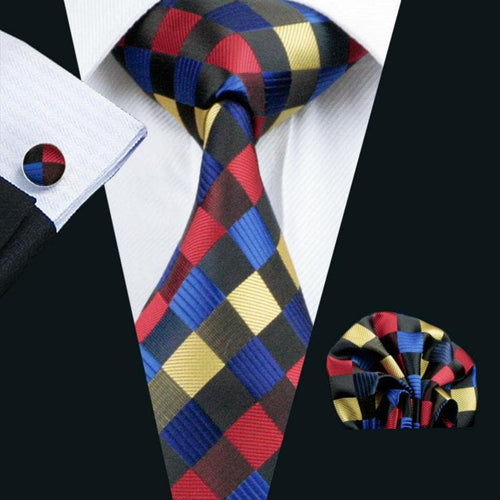 LS-423 Men`s Tie Multi-Color Plaid Business 100% Silk Jacquard Woven Tie + Hanky + Cufflinks Sets For Men Formal Wedding Party