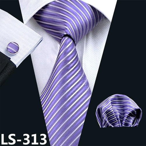 LS-236 Men`s Tie Purple Solid 100% Silk Tie Jacquard Woven Hanky Cufflink Barry.Wang Neck Tie For Men Party Wedding Business