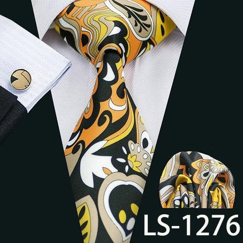 Men Tie Printed New Necktie Gravata Neckwear Barry.Wang Fashion Hanky Cufflink Set Ties For Men Wedding Party Business US-1277