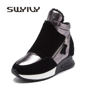 SWYIVY Woman Winter Sneakers Platform  Autumn Winter Warm Plush Velvet Cotton Padded Shoes Wedge High Top Leisure Sneakers