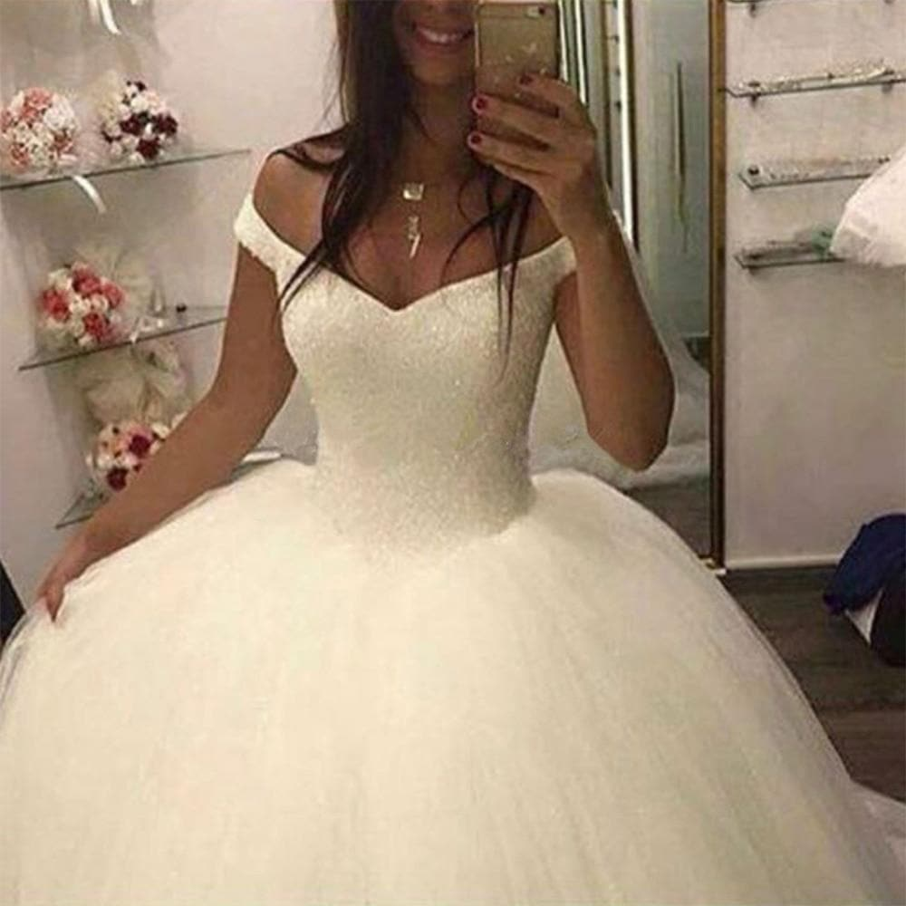 Fansmile New Bling Bling Ball Gown Wedding Dresses Off the Shoulder Bridal Wedding Gowns Customized Plus size FSM-503F