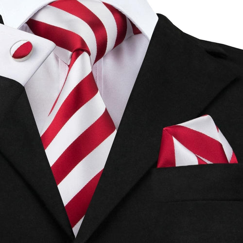 New Fashion White and Red Stripe Tie Hanky Cufflink Silk Jacquard Neckties Ties For Men Formal Business Wedding Party C-242