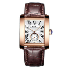 Load image into Gallery viewer, Luxury Brand CHENXI Square Men Watches Unique Design Rose Gold Calendar Stop Watch Genuine Leather Quartz Business Watch for Man