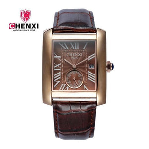 Luxury Brand CHENXI Square Men Watches Unique Design Rose Gold Calendar Stop Watch Genuine Leather Quartz Business Watch for Man