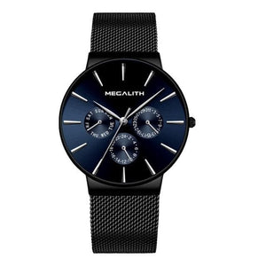 MEGALITH Fashion Watches Mens Sport Waterproof Chronograph Watch Clock Slim Mesh Steel Casual Men Quartz Watch Relogio Masculino