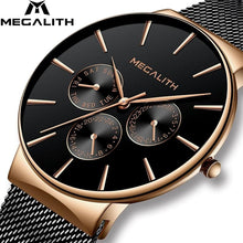 Load image into Gallery viewer, MEGALITH Fashion Watches Mens Sport Waterproof Chronograph Watch Clock Slim Mesh Steel Casual Men Quartz Watch Relogio Masculino