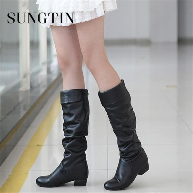 PU Leather Knee High Classic Flat Boots