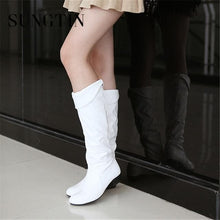 Load image into Gallery viewer, PU Leather Knee High Classic Flat Boots