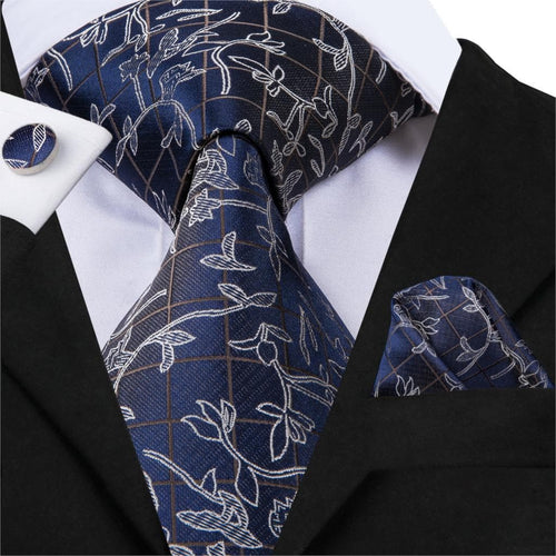 Hi-Tie Luxury Silk Fashion Men's Necktie Blue Floral Tie Set Business Wedding Suit Ties Cuffllinks Handkerchiefs 8.5cm SN-3082