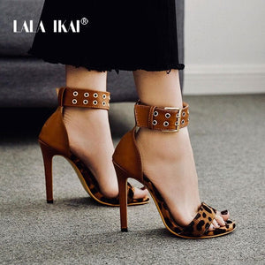 LALA IKAI Sexy Rivet Leopard Women Sandals Buckle Strap Summer Thin Heel Party Wedding Shoes High Heels Sandalia 014C3418-4