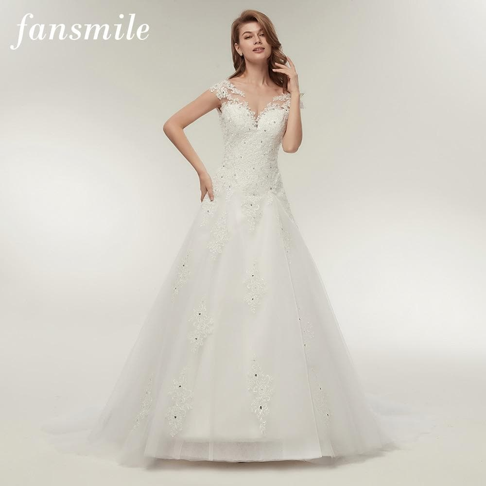 Fansmile Tulle Mariage Vestidos de Novia Embroidery Lace Mermaid Wedding Dress Bridal Gowns Plus Size Customized FSM-138M