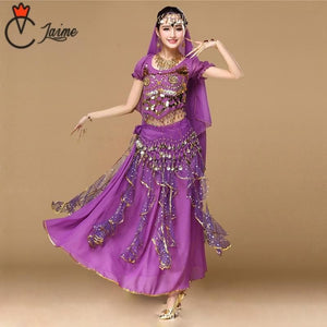 6 colors availablIndian costume Women Dancewear Sari Belly Dance Costume Set 8 pcs Bollywood Indian Dance Costumes Skirt Outfits