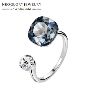 Neoglory Crystal & Rhinestone Square Design Finger Ring Double Color For Classic Women Embellished With Crystals From Swarovski