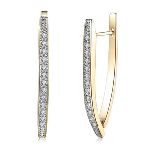 New Arrivals V Shape Shining Cubic Zircon Buckle Hoop Earrings For Women Champagne Gold Color Ladies Earrings Girl Jewelry