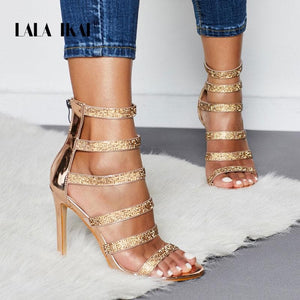 LALA IKAI Gladiator Sandals Women High Heels Crystal Zipper Party Shoes Summer Rhinestone Ladies Sandalie Female 014C3396-4