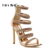 Load image into Gallery viewer, LALA IKAI Gladiator Sandals Women High Heels Crystal Zipper Party Shoes Summer Rhinestone Ladies Sandalie Female 014C3396-4