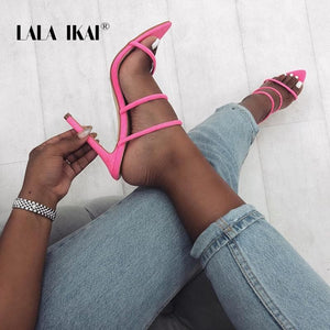 LALA IKAI Gladiator Women Sandals High Heels Pointed Toe Summer Flock Sexy Party Shoes Slip-On Sandalie Drop-Shipping 014C3505-4