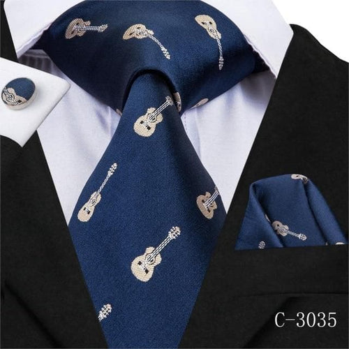 C-3090 Men Tie Silk Woven 8.5cm New Animal Fox Blue Music Tie Necktie Hanky Cufflinks Set Fashion Party Wedding Tie Set for Mens