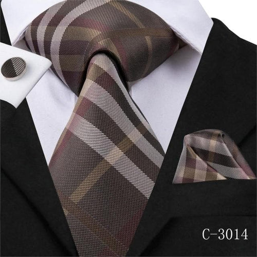 20 Styles Plaid Tie Silk Woven  New Red Grey Plaid Necktie Hanky Cufflinks Set Classic Men's Wedding Pocket Square Tie 8.5cm