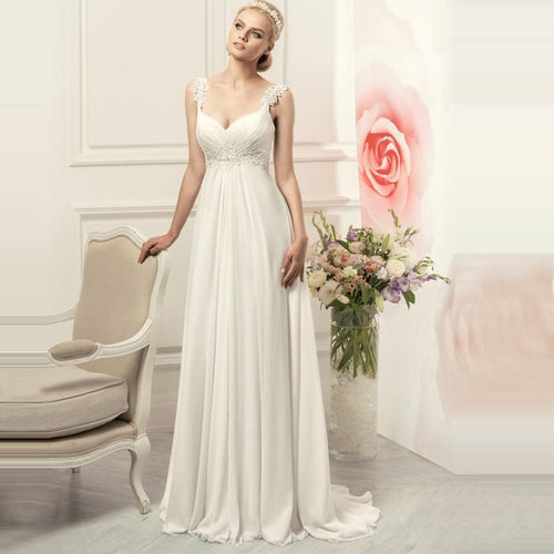 Simple Spaghetti Straps Chiffon Wedding Dresses Elegant Bohemian Empire Bridal Gown White/Ivory Vestido de Novia